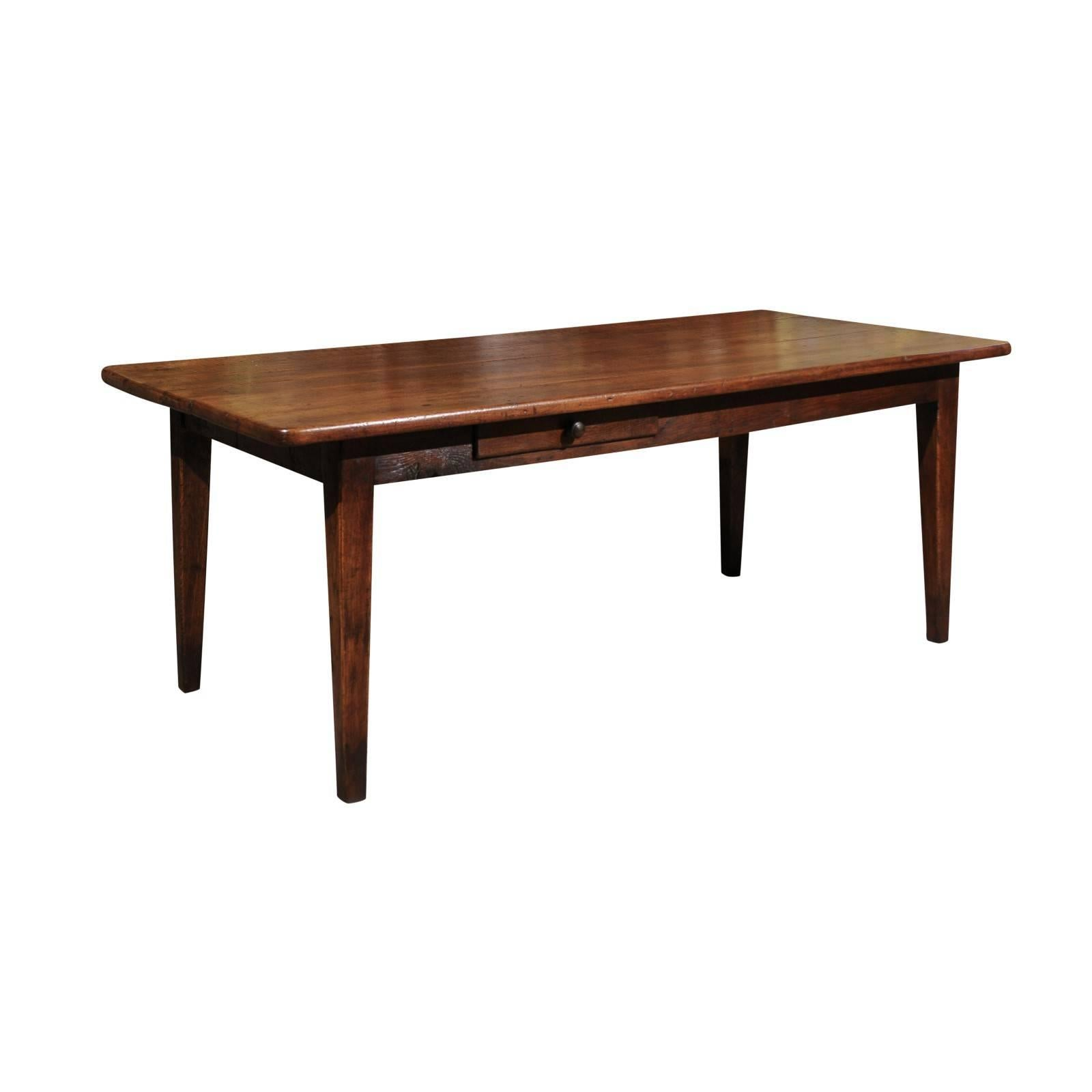 Amazing 19th Century French Walnut Farm Table, Circa 1880 For Sale