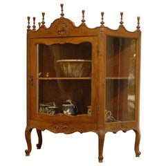 19th Century French Walnut Glazed Door Étagère Louis XV Style Display Cabinet