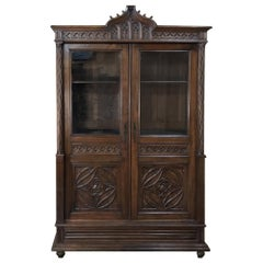 19th Century French Walnut Gothic Bookcase