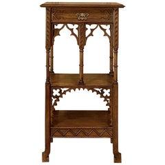 19th Century French Walnut Gothic Pedestal, Étagère End Table