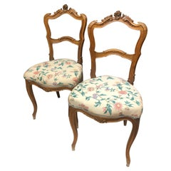 19th Century French Walnut Hand Carved Chairs in Louis XV Style