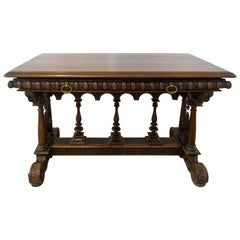 19th Century French Walnut Henri II Writing Table or Desk