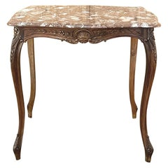 19th Century French Walnut Louis XV Marble Top End Table