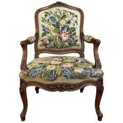 19th Century French Walnut Louis XV Needlepoint Tapestry Armchair ~ Fauteuil