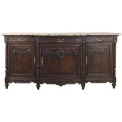 19th Century French Walnut Louis XVI Marble Top Buffet