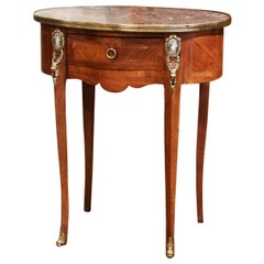 19th Century French Walnut Marquetry Side Table with Marble Top and Brass Rim