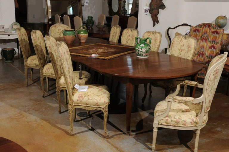 19th Century French Walnut Oval Extension Dining Table with Removable Leaves