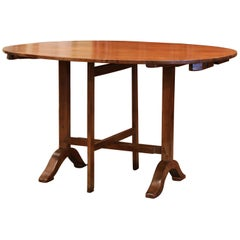 19th Century French Walnut Oval Tilt-Top Wine Tasting Table from Burgundy