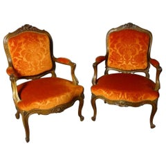19th Century French Walnut Pair of Louis XV Style Armchairs