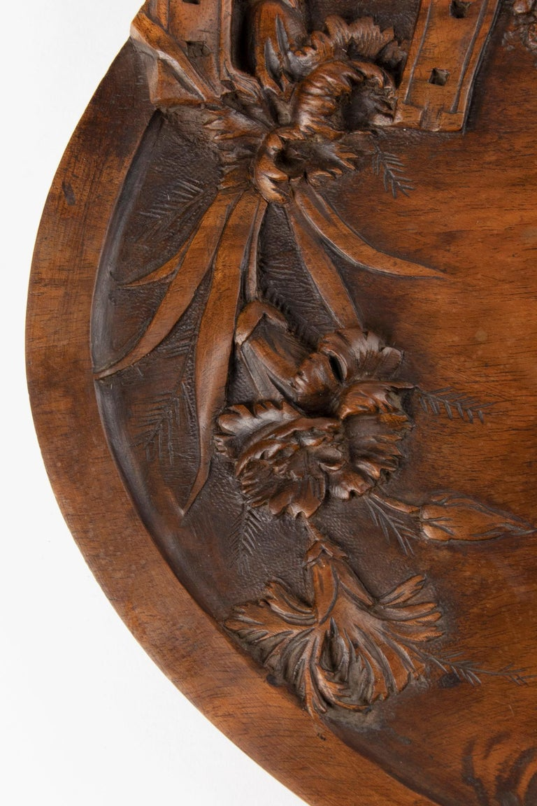 19th Century French Walnut Serving Tray with Great Carving For Sale 6