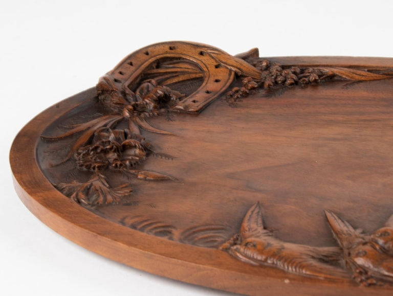 19th Century French Walnut Serving Tray with Great Carving For Sale 7