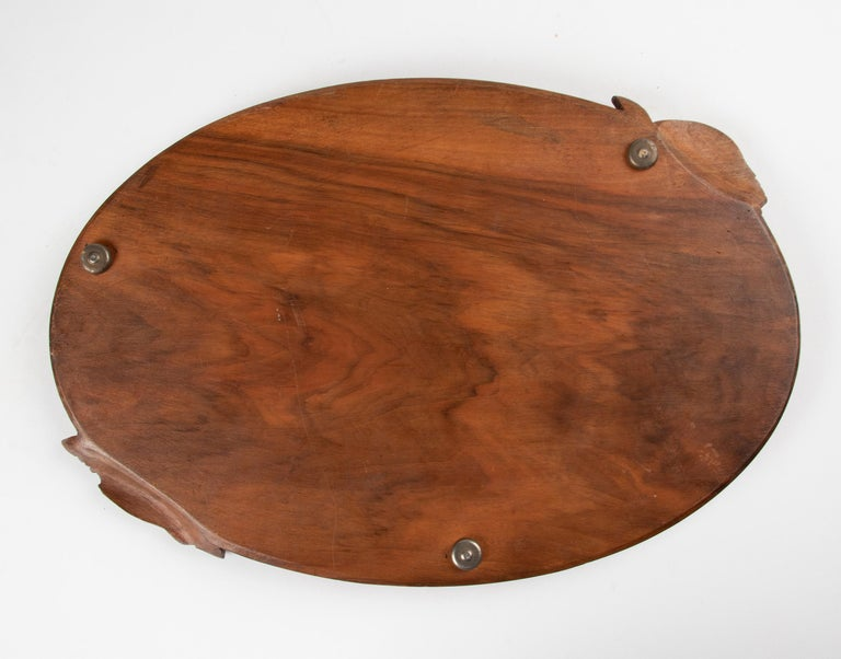 19th Century French Walnut Serving Tray with Great Carving For Sale 8