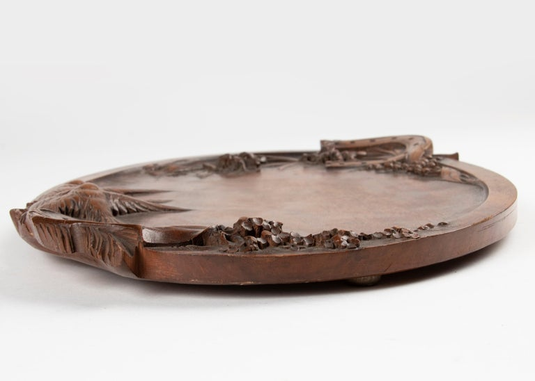 19th Century French Walnut Serving Tray with Great Carving For Sale 9
