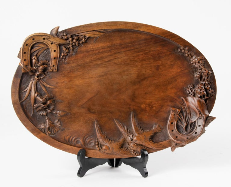 Romantic 19th Century French Walnut Serving Tray with Great Carving For Sale