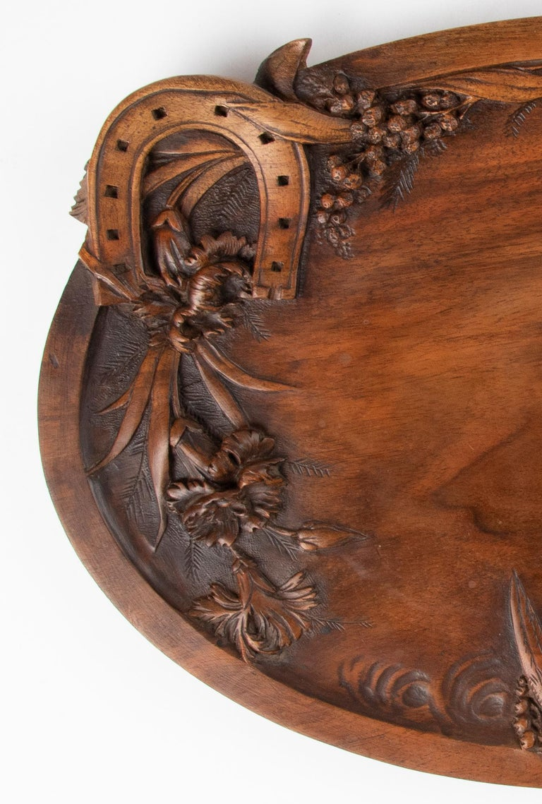 Hand-Carved 19th Century French Walnut Serving Tray with Great Carving For Sale