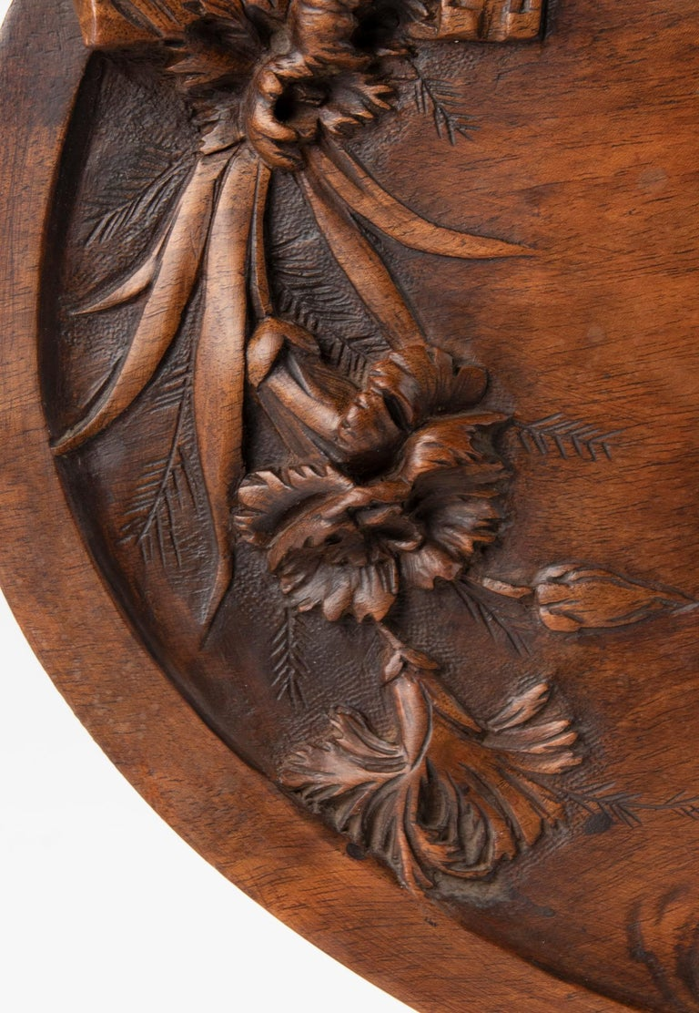 19th Century French Walnut Serving Tray with Great Carving For Sale 1