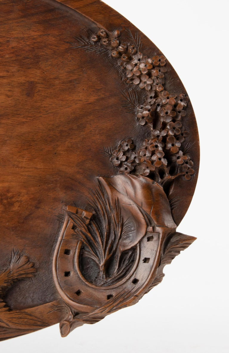19th Century French Walnut Serving Tray with Great Carving For Sale 2
