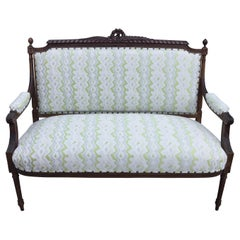 19th Century French Walnut Settee with New Designer Upholstery