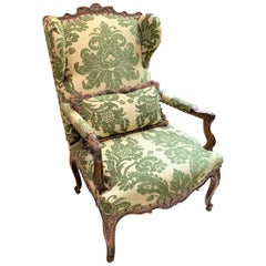 19th Century French Walnut & Upholstered Armchair