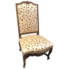 19th Century French Walnut & Upholstered Tall-Back Side Chair