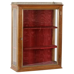 19th Century French Walnut Wall Vitrine or Display Cabinet with Original Glass