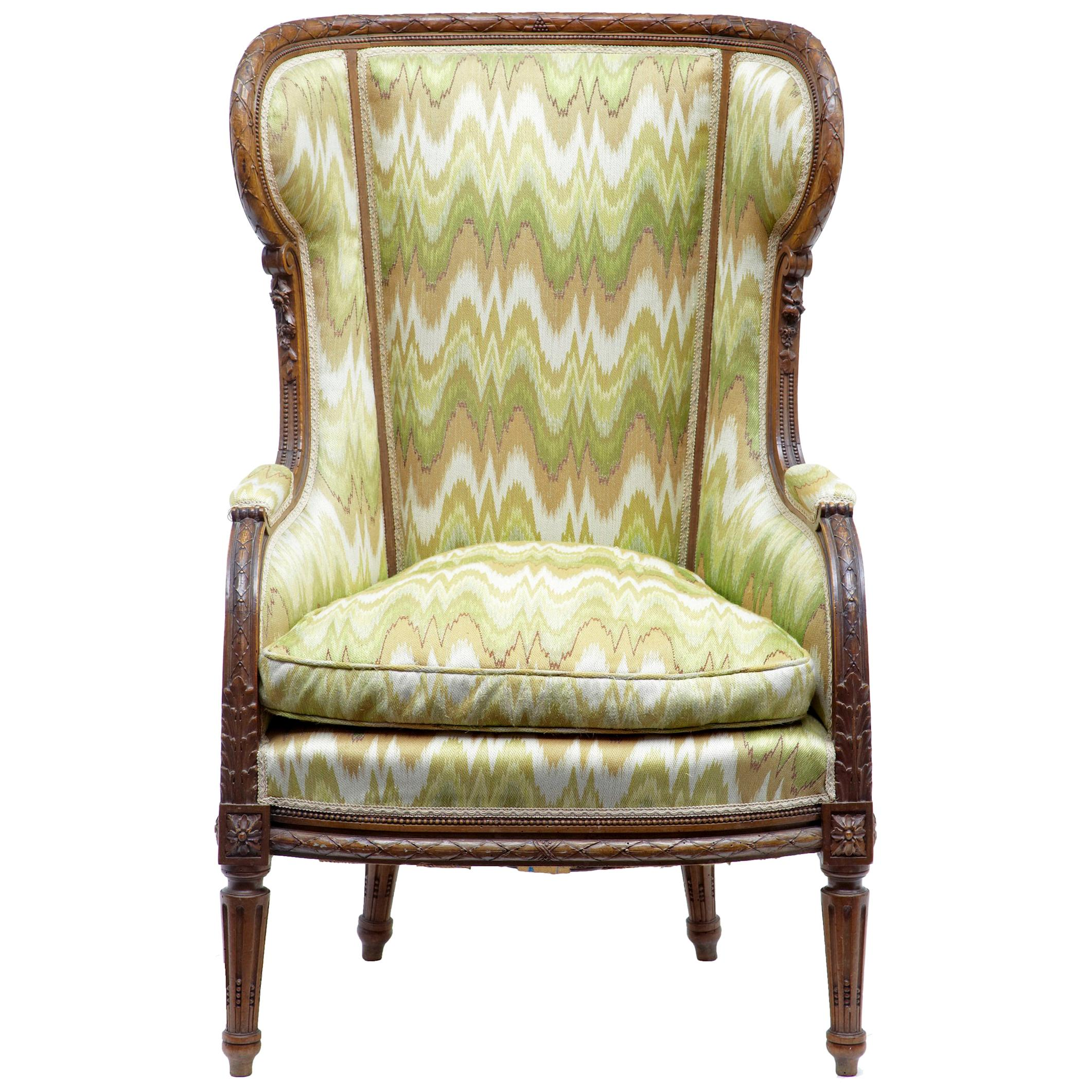 19th Century French Walnut Wingback Armchair