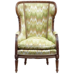 19th Century French Walnut Wingback Armchair