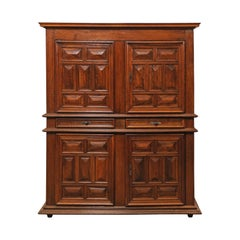 19th Century French Walnut Wood Raised-Panel Tall Cabinet