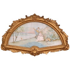 19th Century French Watercolor Courting Scene in Carved Gilt Frame Signed Canoby