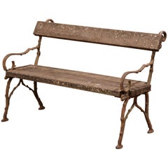 19th Century French Weathered Iron and Wood Outdoor Garden Bench