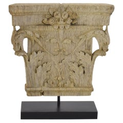 19th Century French Weathered Oak Capital with Dragon Heads