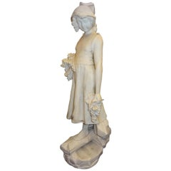 19th Century French White Alabaster Sculpture of Young Girl with Grapes