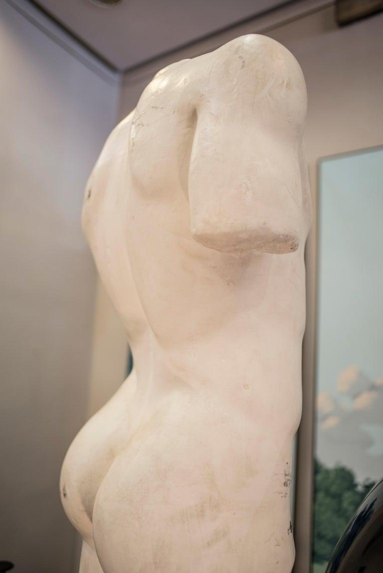 19th Century French White Gesso Torso Sculpture, Academicist, circa 1890 For Sale 11