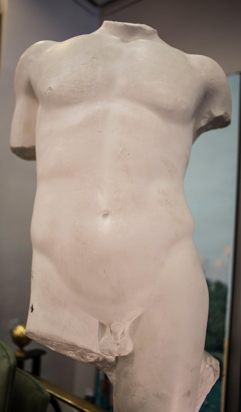 Carved 19th Century French White Gesso Torso Sculpture, Academicist, circa 1890 For Sale