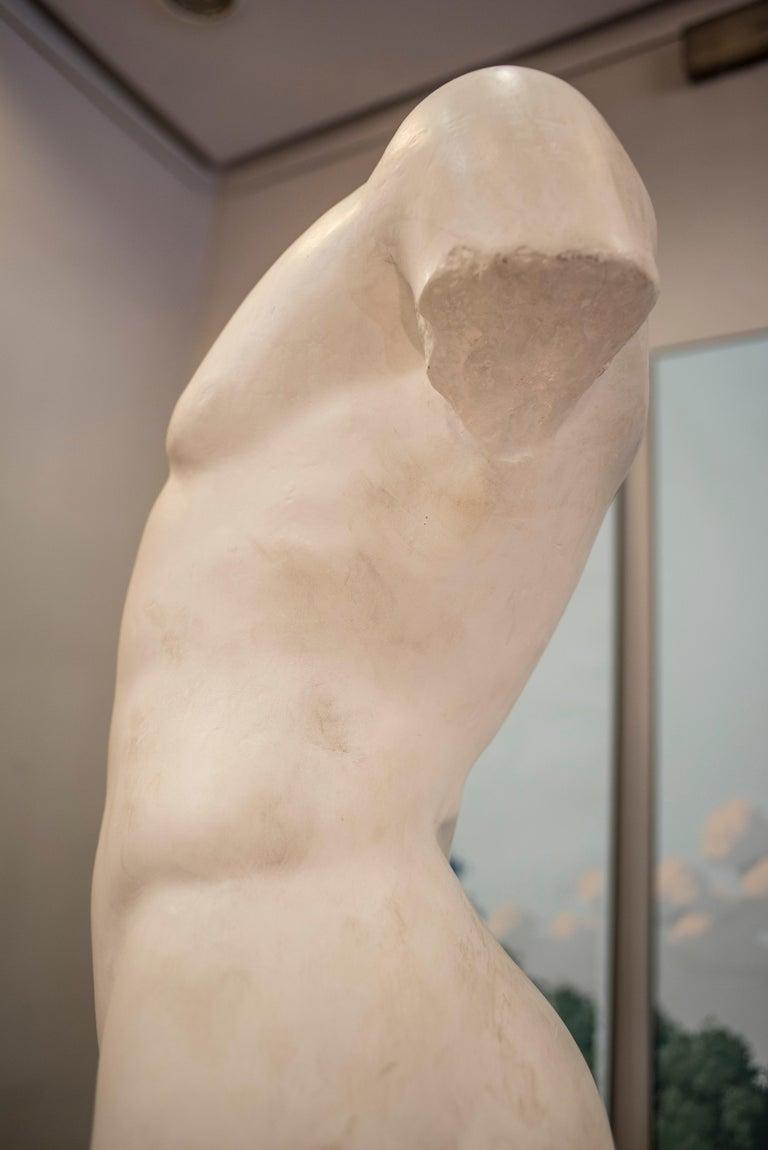 19th Century French White Gesso Torso Sculpture, Academicist, circa 1890 For Sale 3