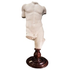19th Century French White Gesso Torso Sculpture, Academicist, circa 1890