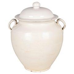 19th Century French White Glazed Confit Pot