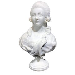 19th Century French White Marble Sculpture Bust of Queen Marie Antoinette Signed