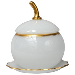 19th Century French White Opaline Glass Pumpkin or Apple Shaped Bowl or Tureen