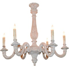 19th Century French White-Washed Chandelier