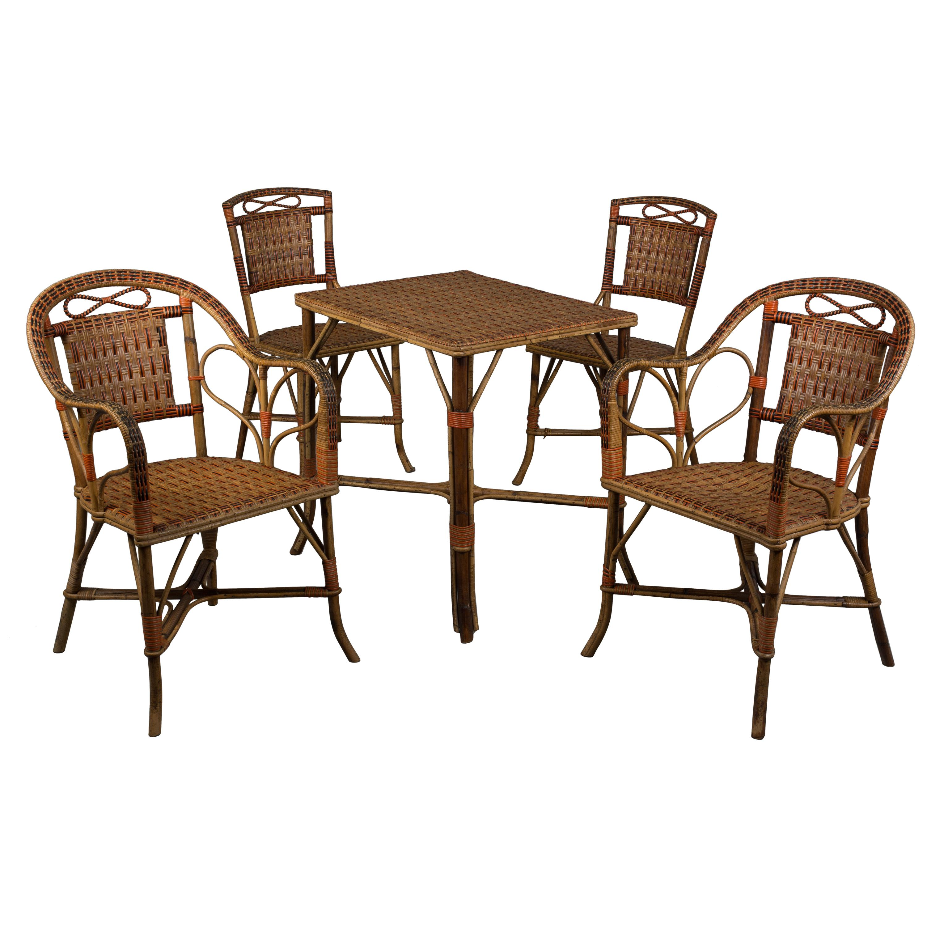 19th Century French Wicker Rattan Dining Set