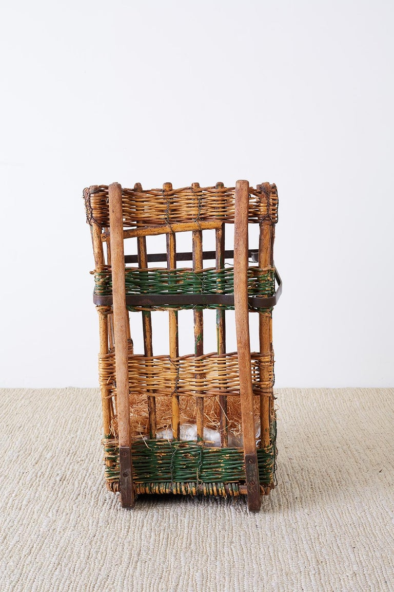 19th Century French Wicker Harvest Display Basket For Sale 8