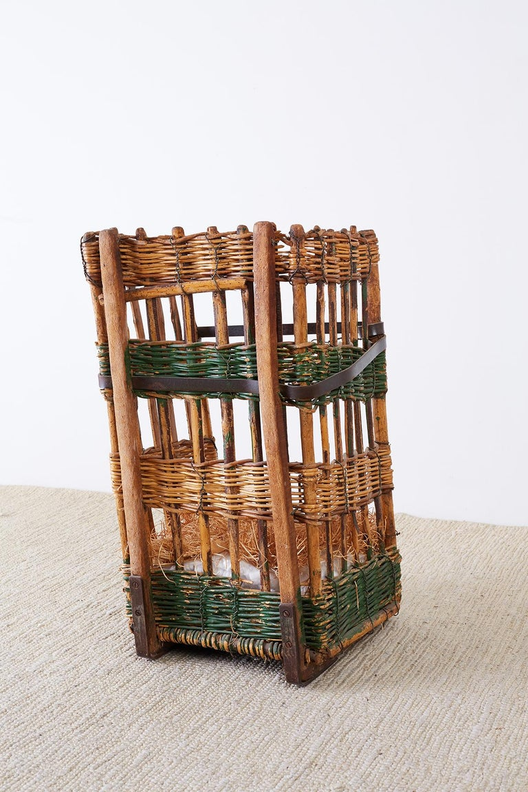 19th Century French Wicker Harvest Display Basket For Sale 9