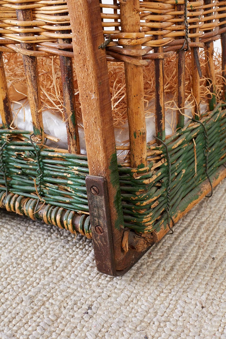 19th Century French Wicker Harvest Display Basket For Sale 10
