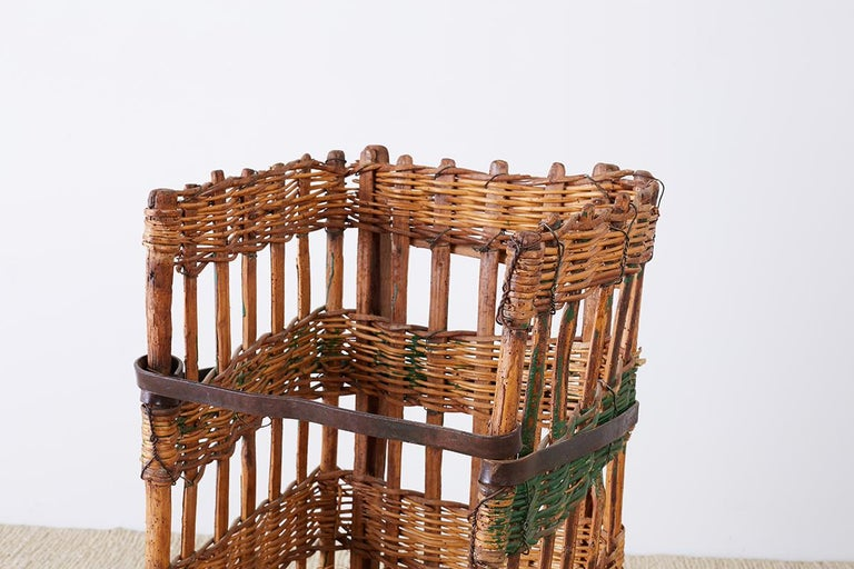 Rustic 19th Century French Wicker Harvest Display Basket For Sale