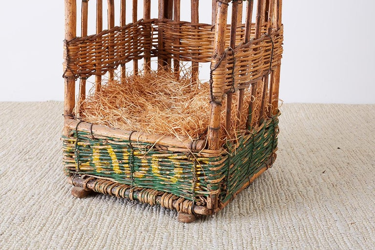 Hand-Crafted 19th Century French Wicker Harvest Display Basket For Sale