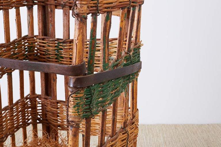19th Century French Wicker Harvest Display Basket In Distressed Condition For Sale In Oakland, CA