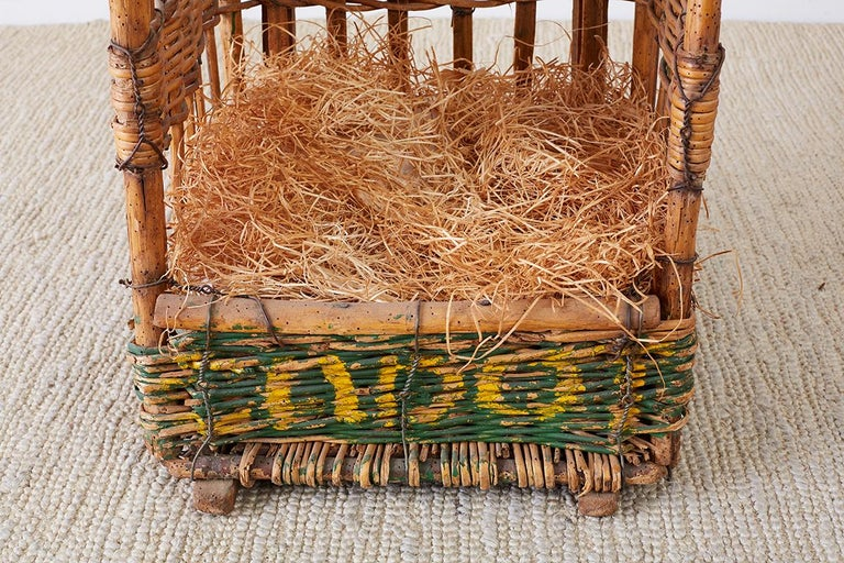 19th Century French Wicker Harvest Display Basket For Sale 3