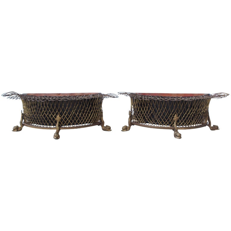 19th Century French Wire Demilune Jardiniere For Sale