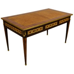 19th Century French Wood Desk Table with Golden Bronzes